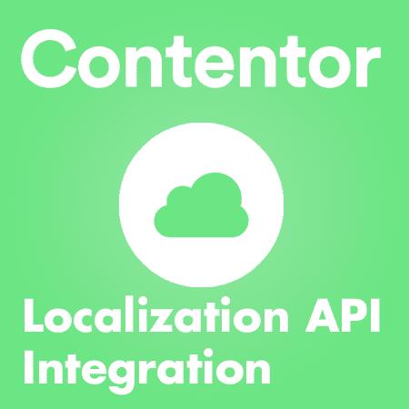 """Grafisk bild i grönt. På bilden är det ett moln och det står """"Contentor"""", """"Localization API Integration"""""""