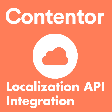 """Grafisk bild i orange. På bilden är det ett moln och det står """"Contentor"""", """"Localization API Integration"""""""